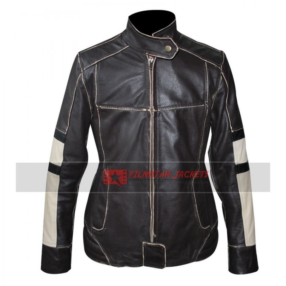 Womens Dark Brown Motorcycle Jacket