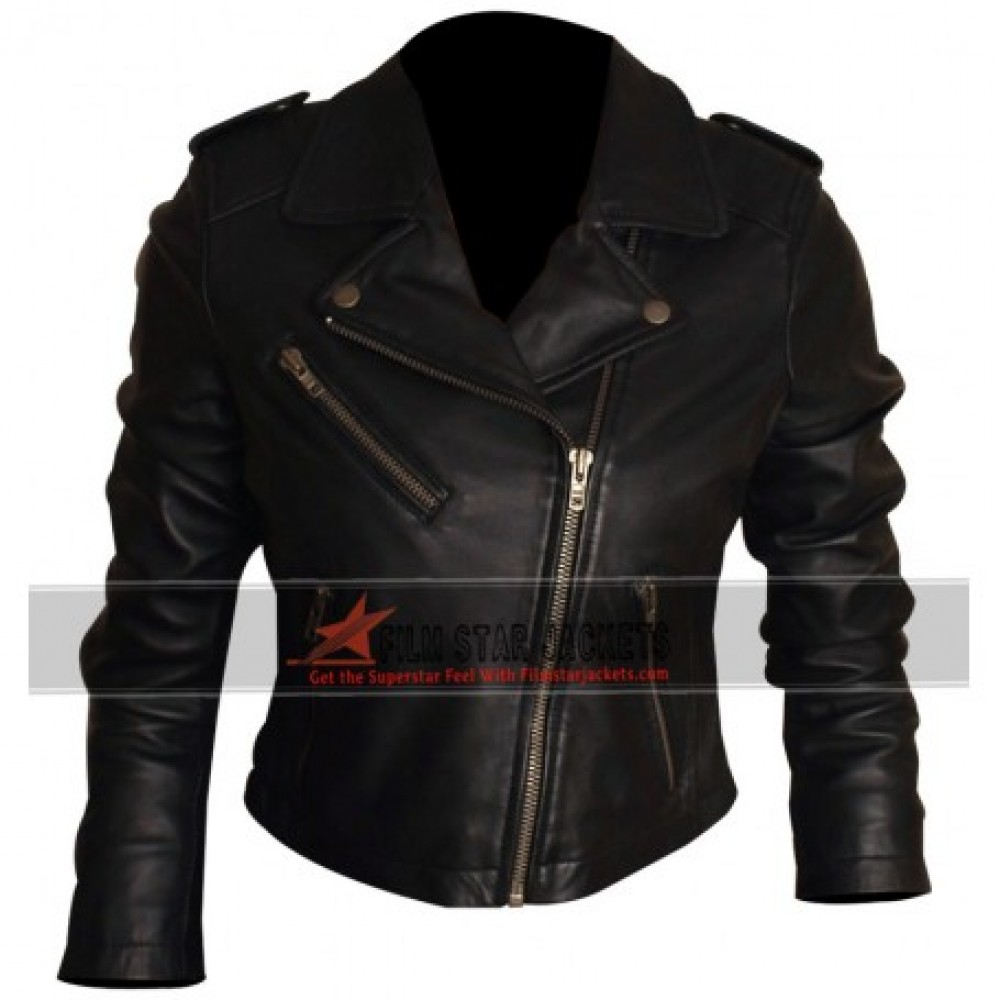 WOMENS BLACK BIKER JACKET
