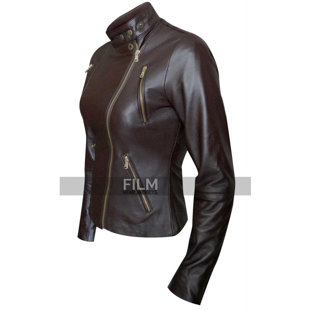 Women Slim Fit Motorcycle Brown Leather Jacket