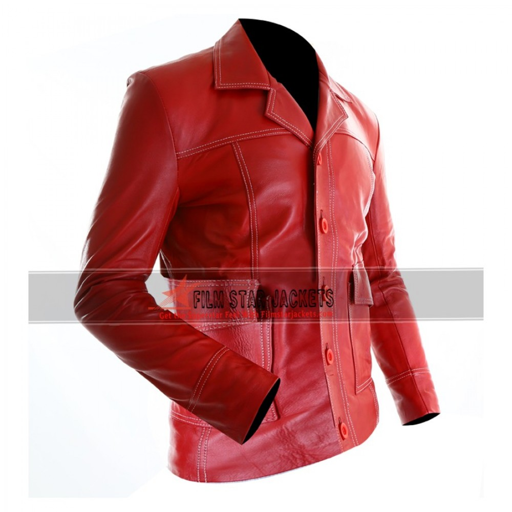 Fight Club Red Leather Jacket (Brad Pitt)