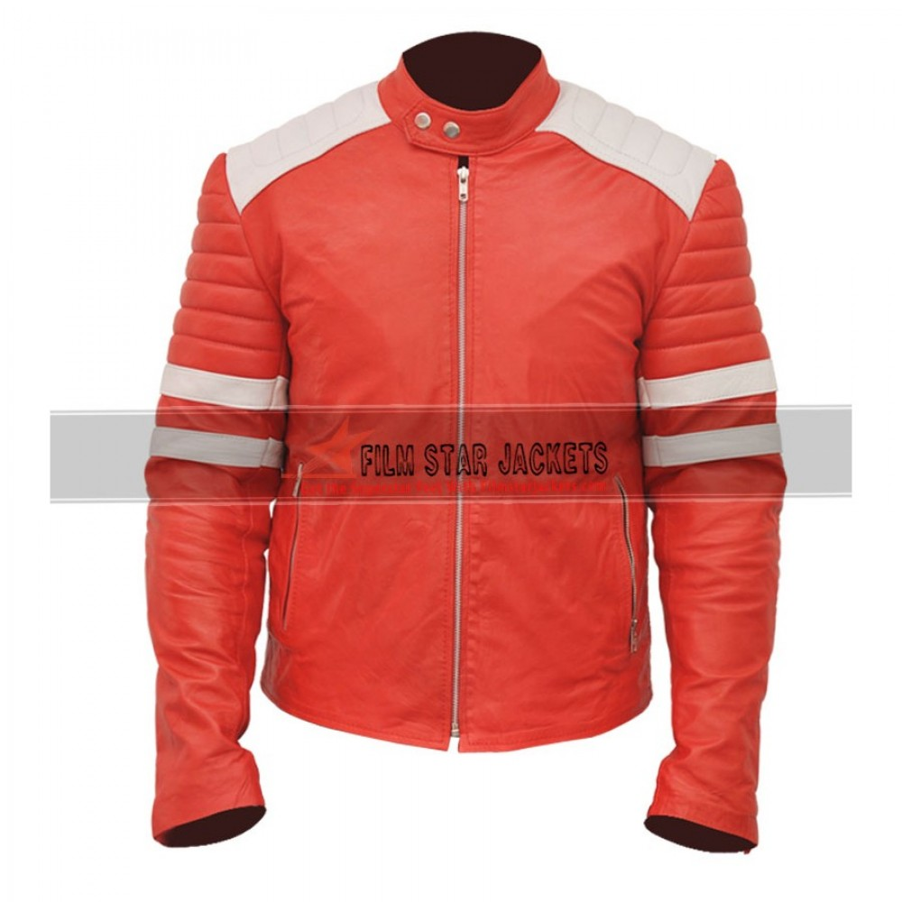 Fight Club Brad Pitt Red & White Jacket