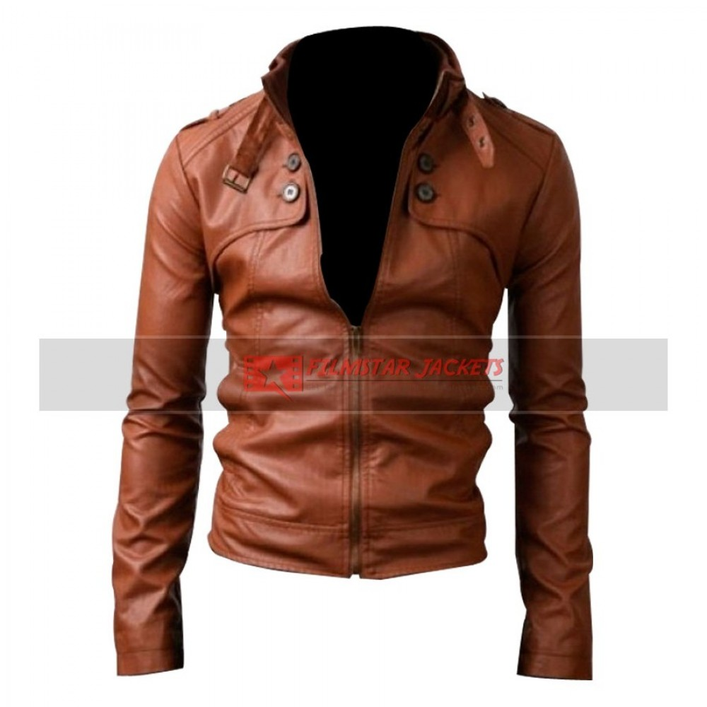 Button Pocket Slim Fit Rider Brown Jacket