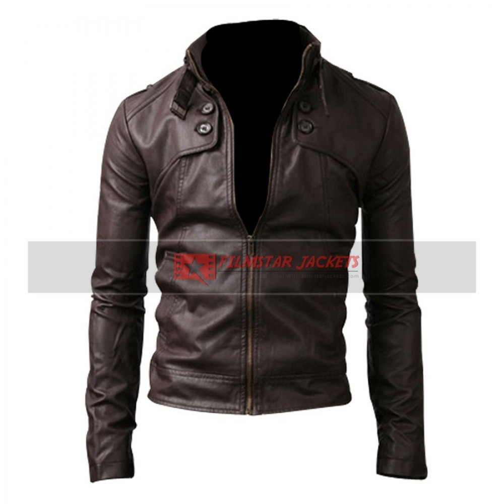 Button Pocket Slim Fit Rider Dark Brown Jacket