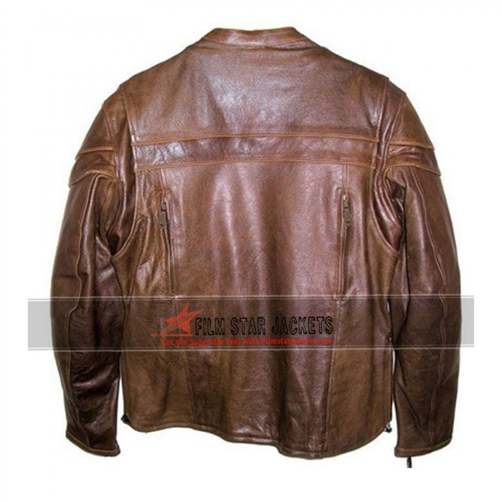 Cafe Racer Brown Biker Jacket