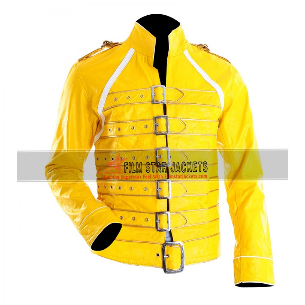 Replica of Freddie Mercury Jacket in Yellow color with Front Buckles