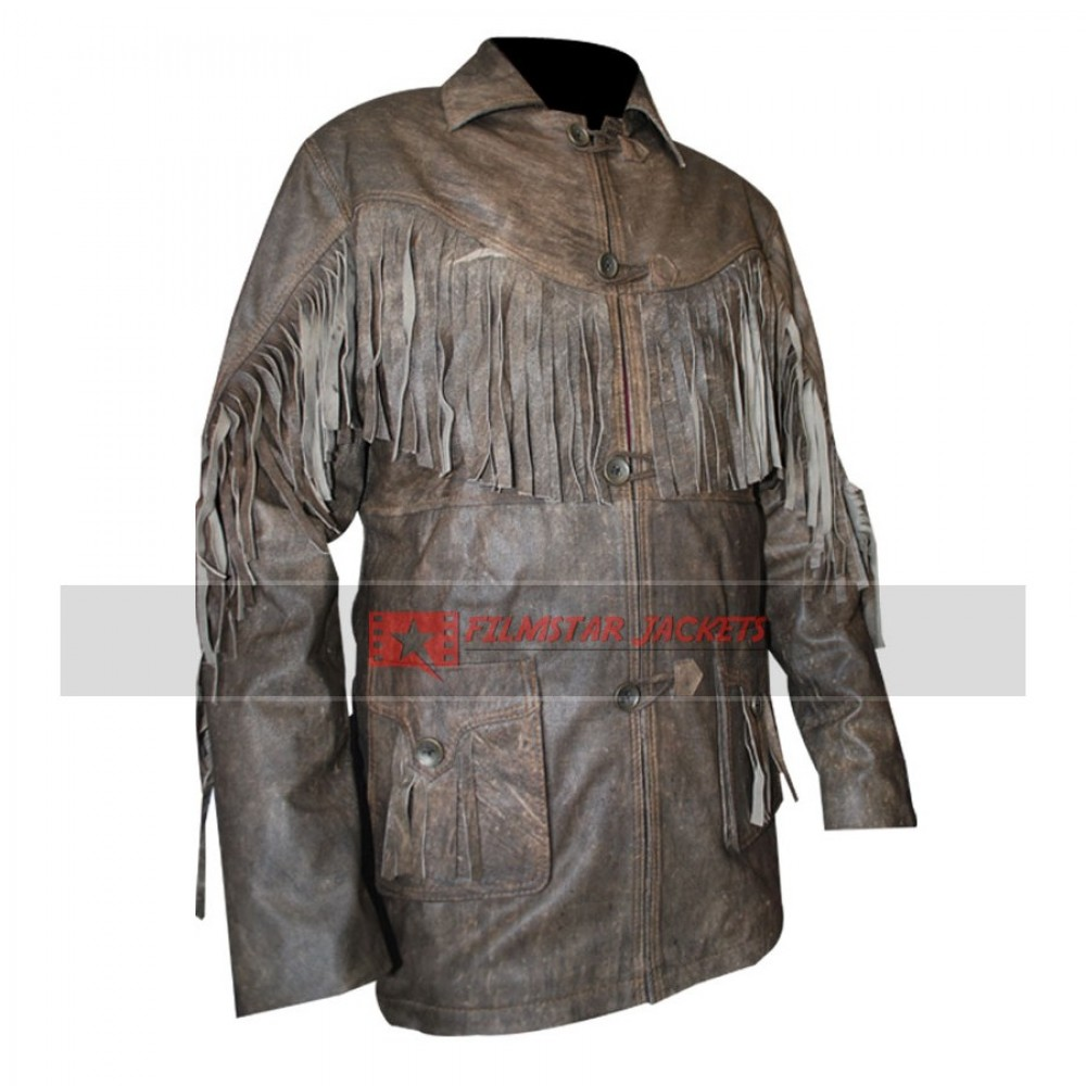 Fringe Style Distressed Mens Jacket