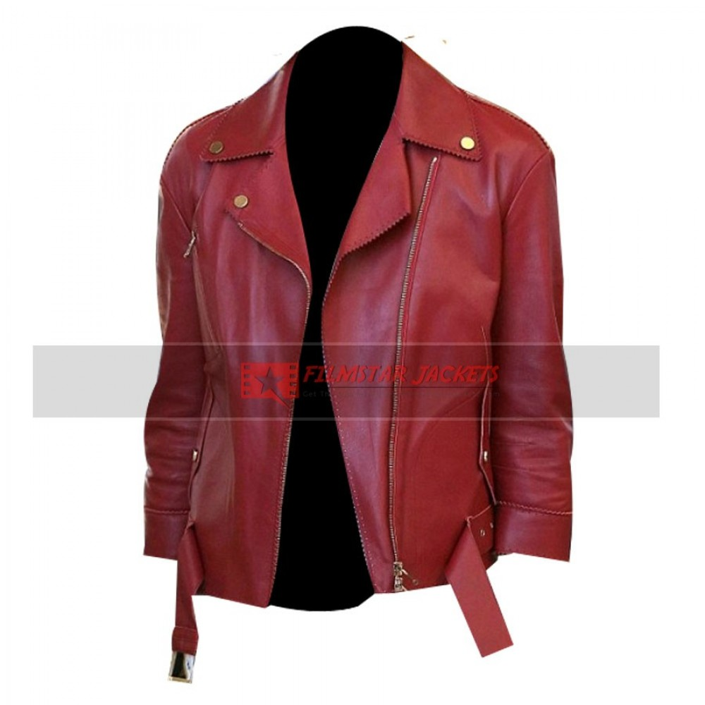 January Jones Red Leather Jacket