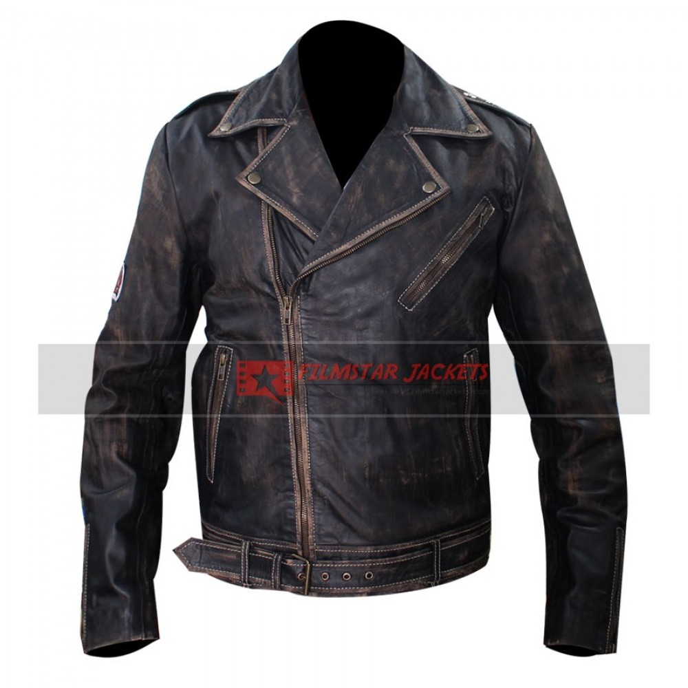 Johnny Depp Distressed Green Leather Jacket