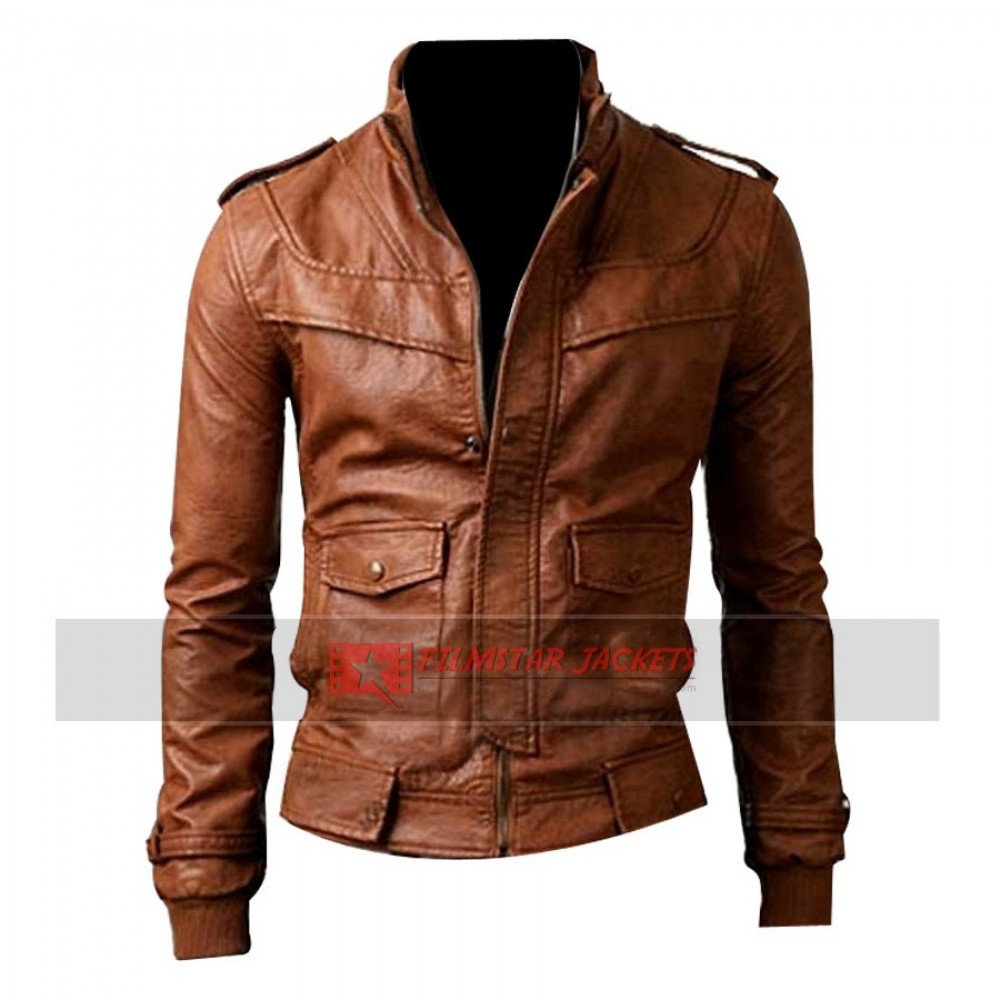 Light Brown Slim-fit Rider Jacket