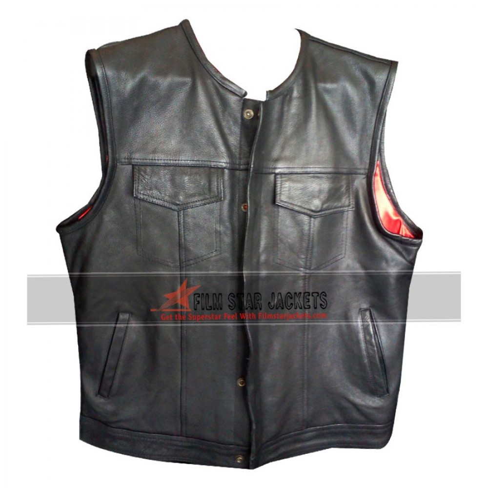 Exclusive Black Motorcycle Leather Vest Sale