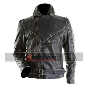 Mens Black Distressed Leather Motorcycle Jacket