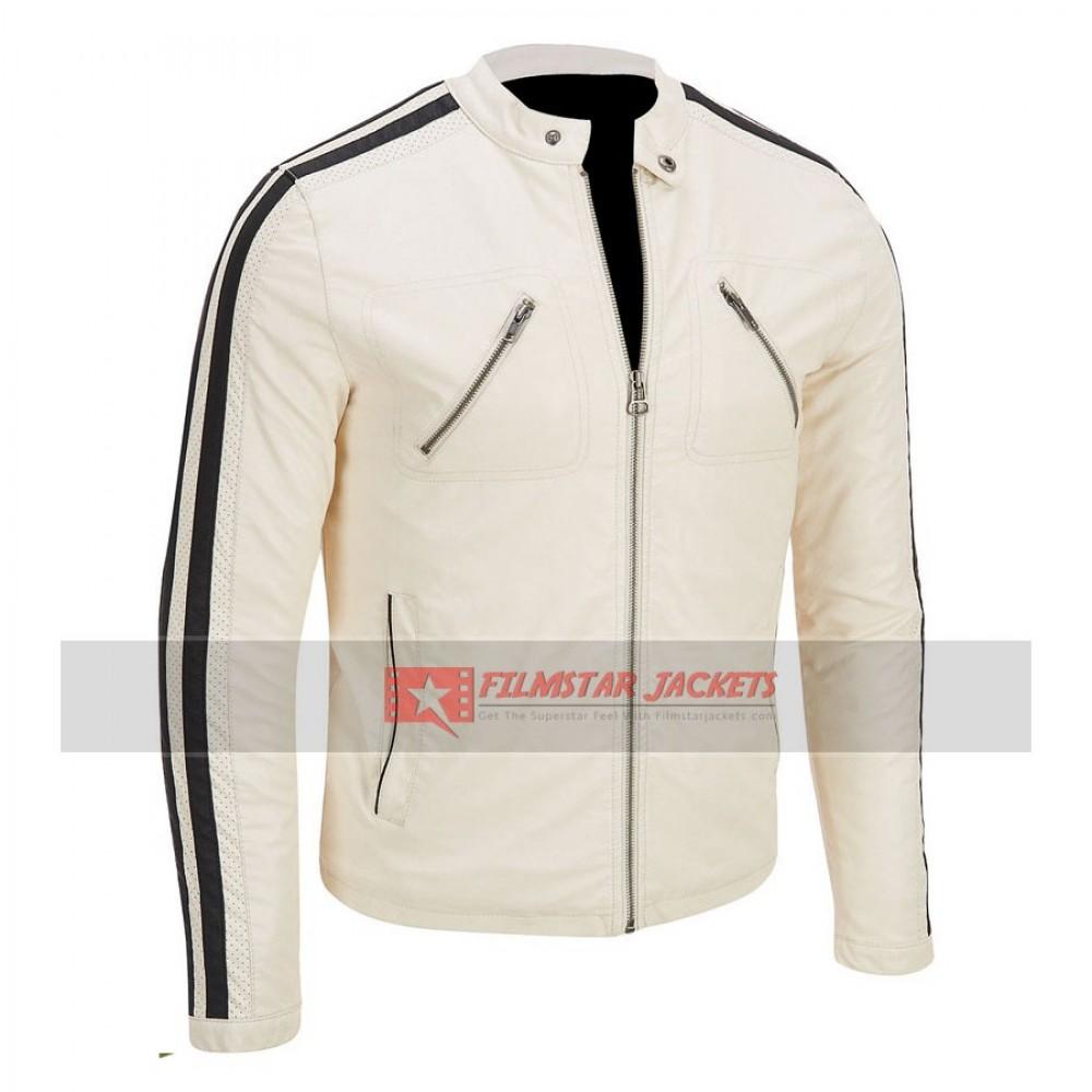 Mens White Moto Jacket