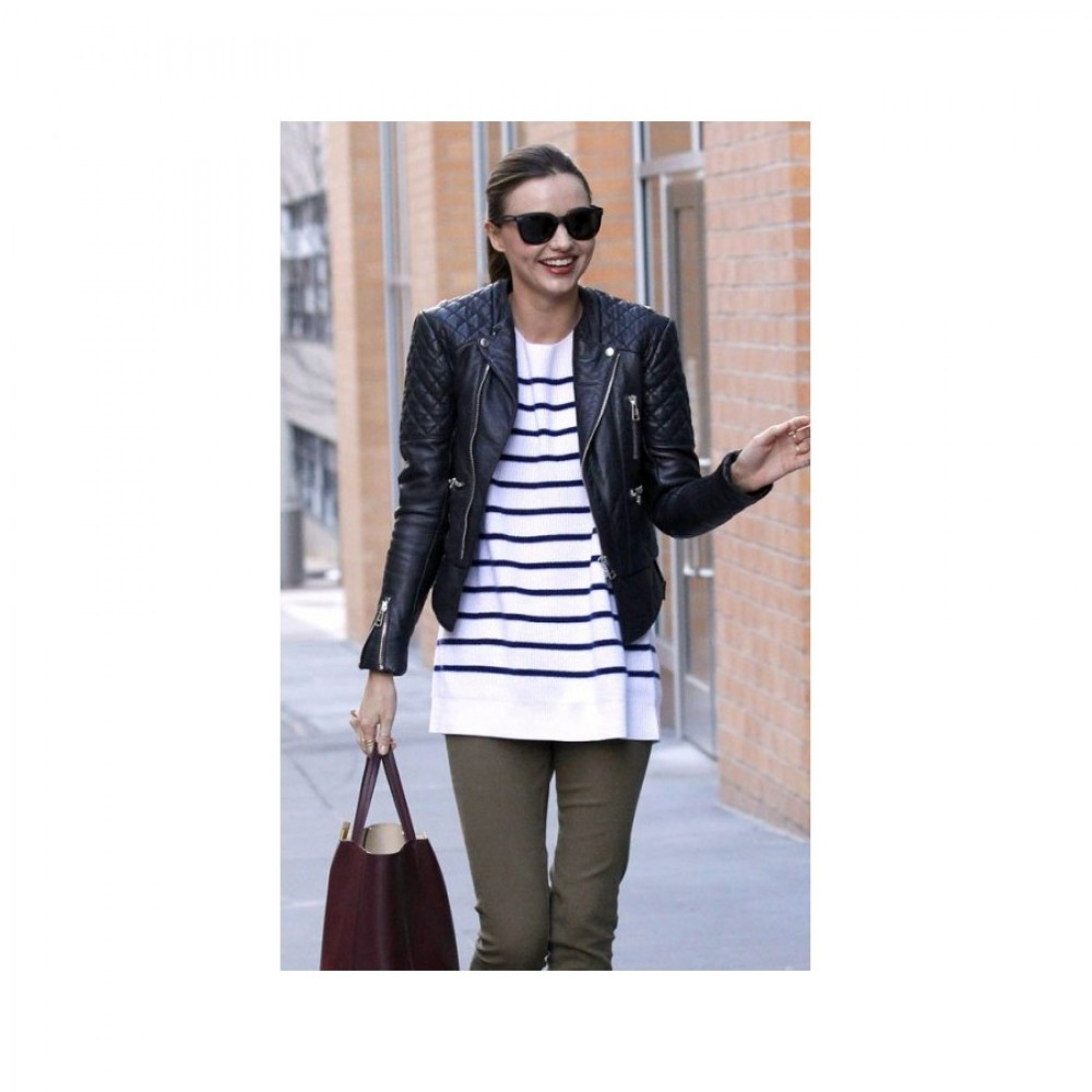 Miranda Kerr Quilted Motorcycle Leather Jacket