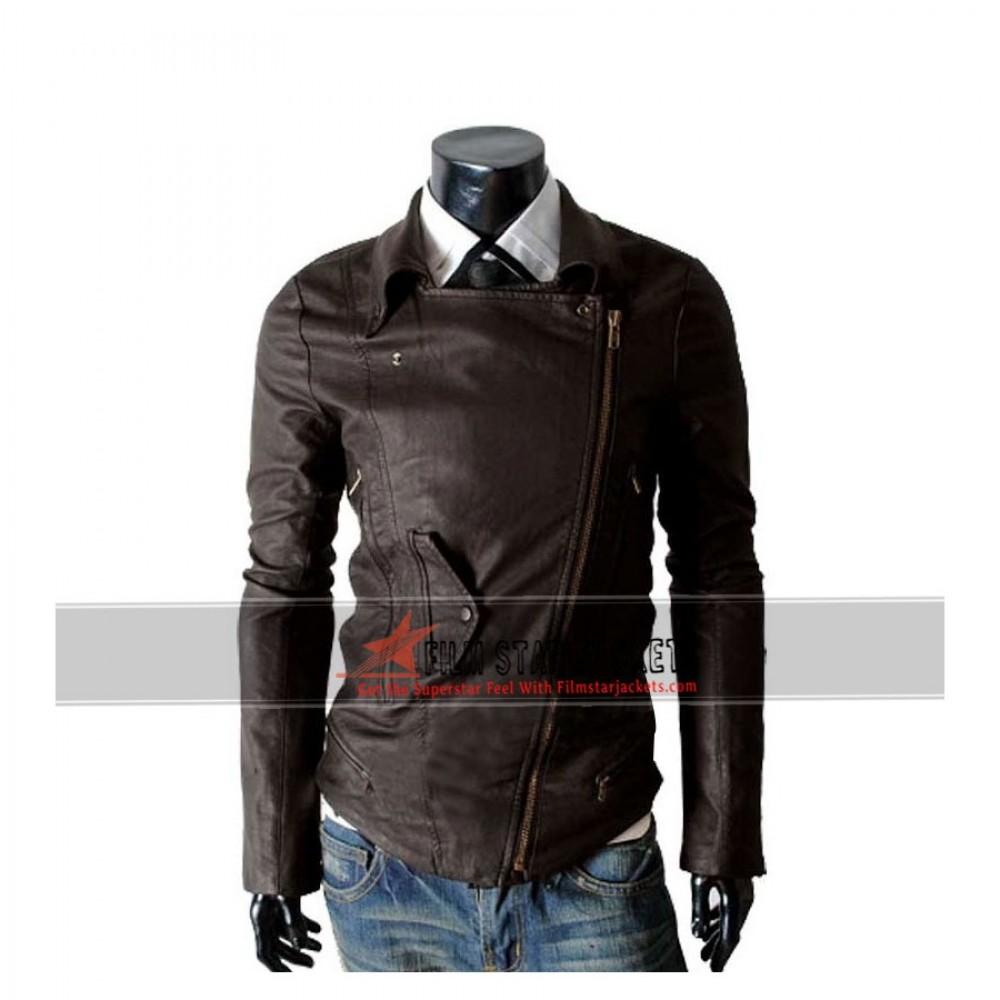 Multi Pocket Slim Fit Rider Brown Jacket