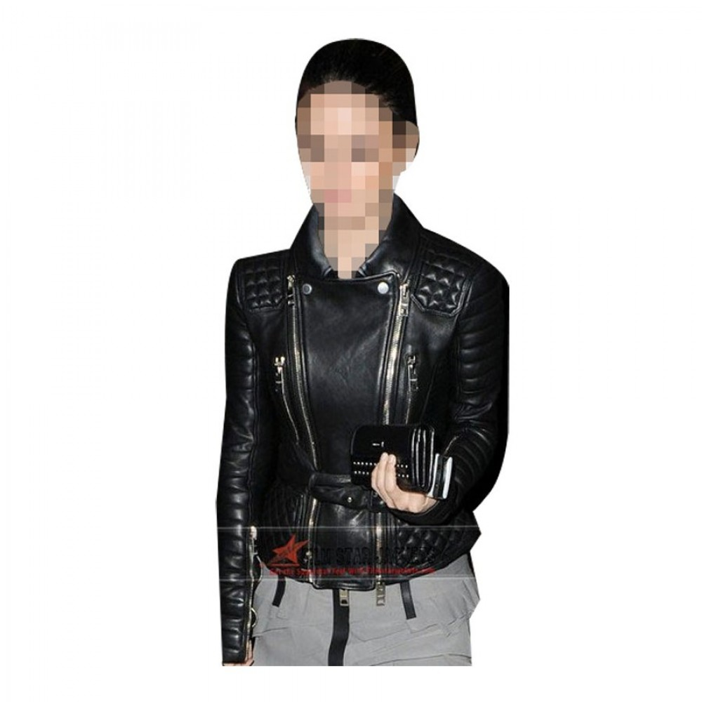 Rachel Bilson Black Biker Jacket