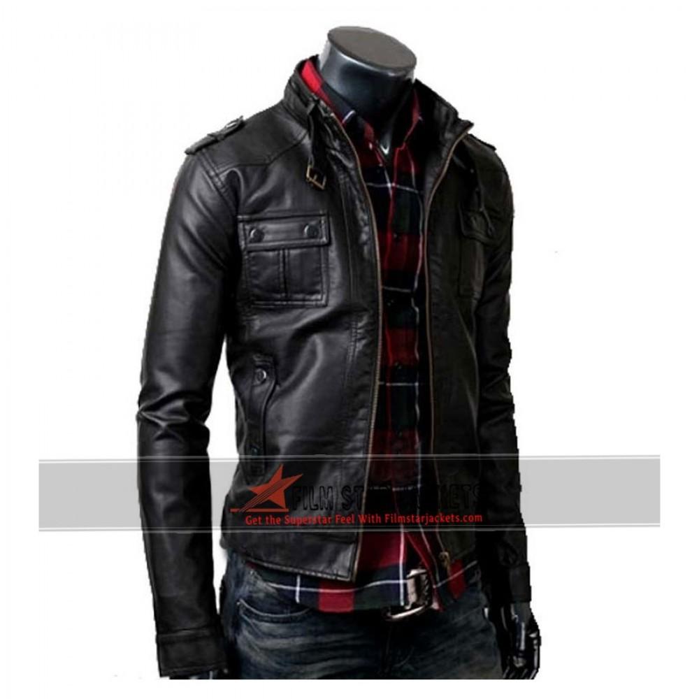 Slim Fit Strap Pocket Black Jacket