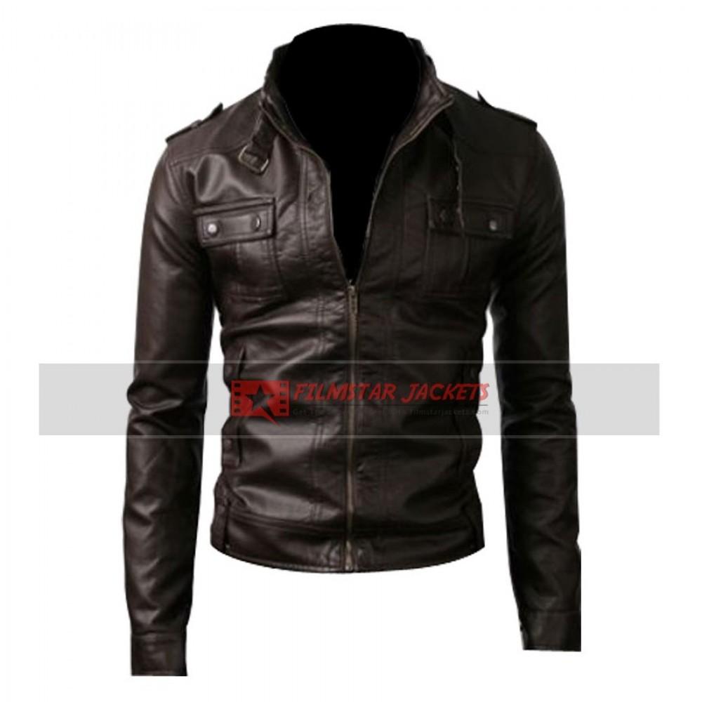 Strap Pocket Slim-fit Dark Brown Jacket