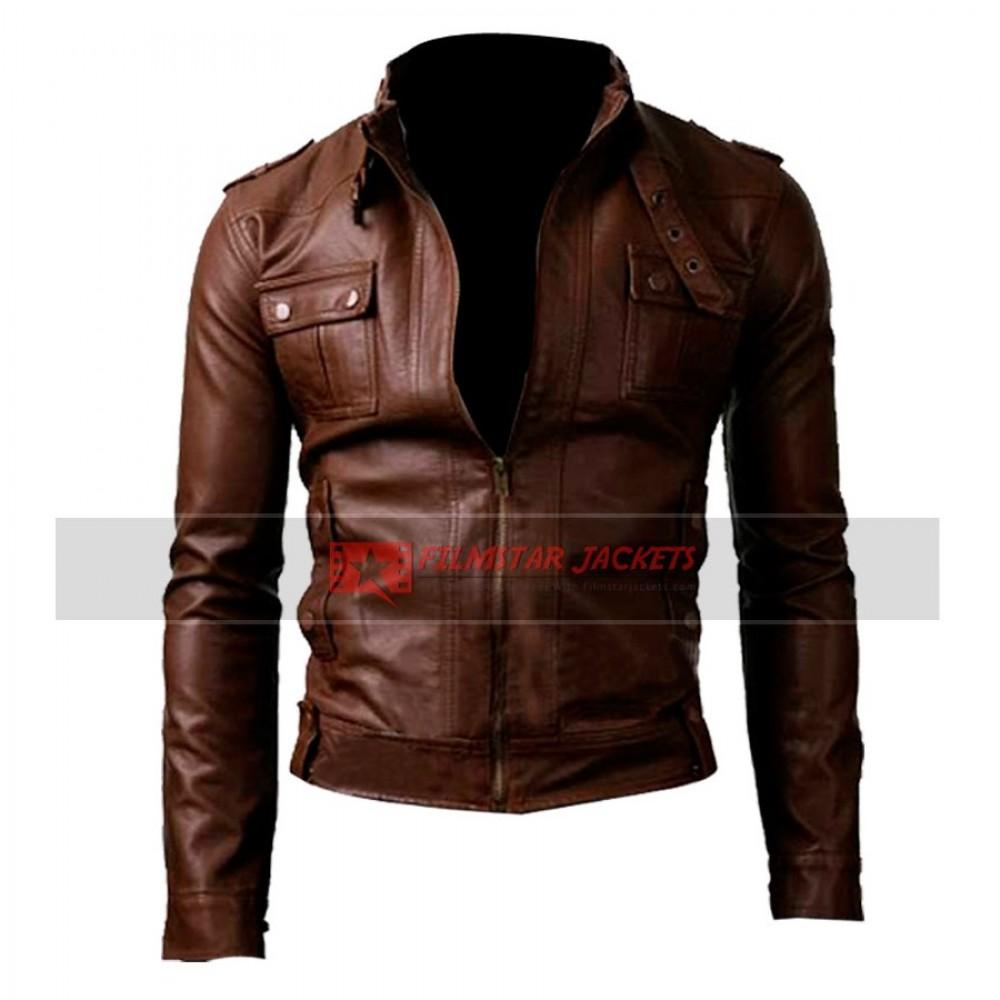 Strap Pocket Slim-fit Light Brown Jacket