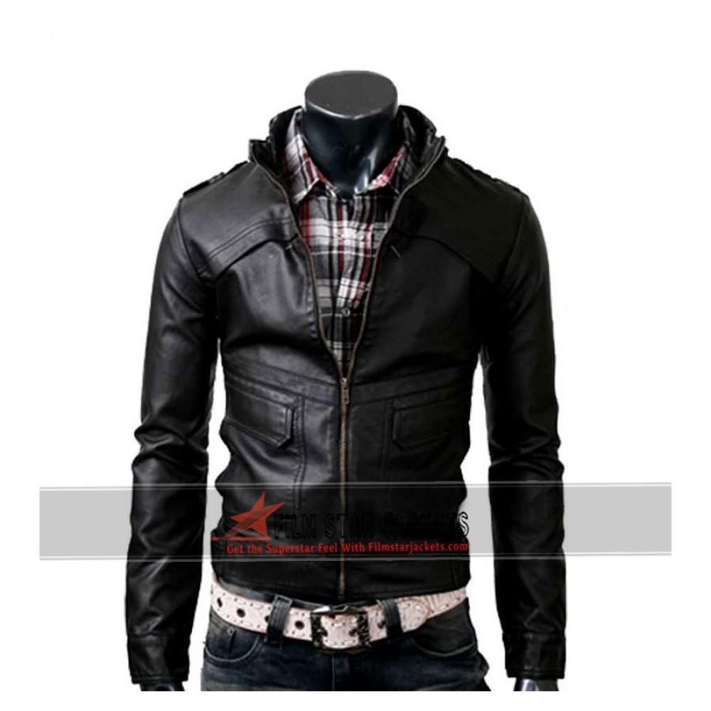 Strap Slim-fit Rider Black Jacket