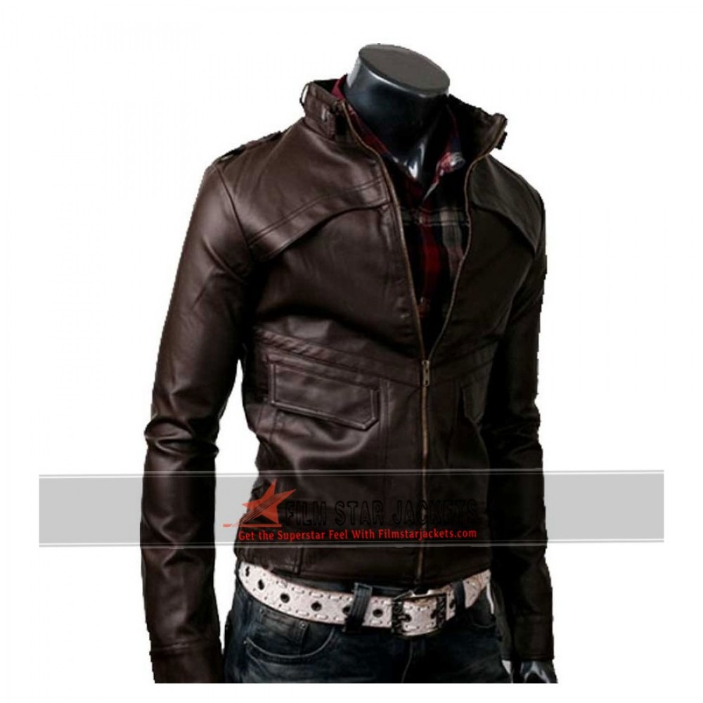 Strap Slim-Fit Rider Dark Brown Jacket