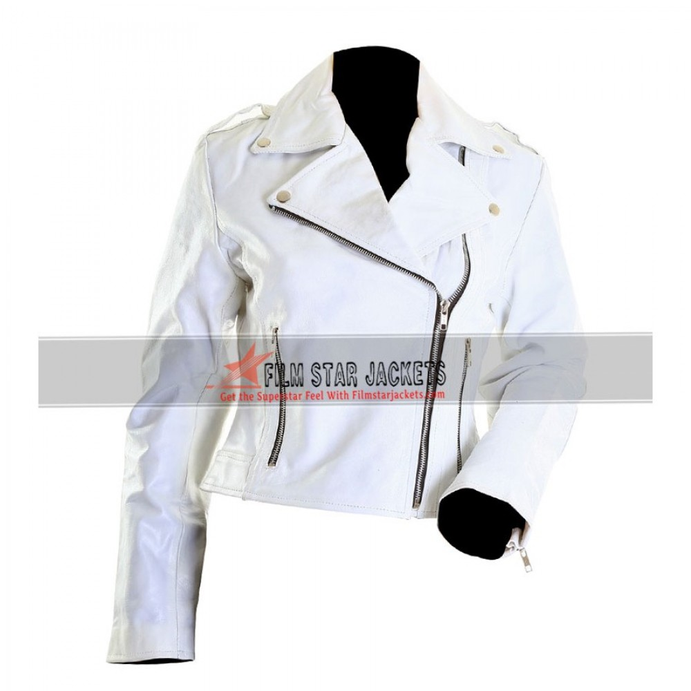 Women's White Leather Motorcycle Jacket