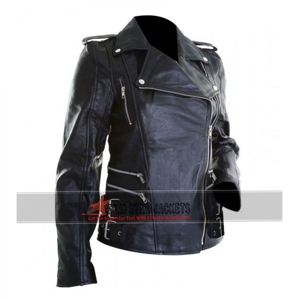 Womens Black Leather Biker Jacket