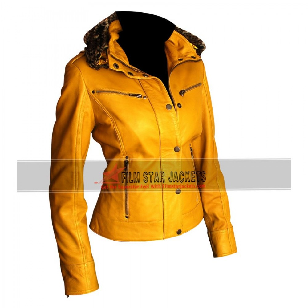 WOMENS YELLOW BIKER JACKET