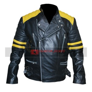 Black Biker Yellow Stripes Jacket